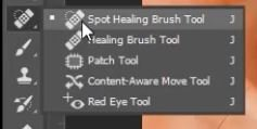 Remove acne with spot healing brush