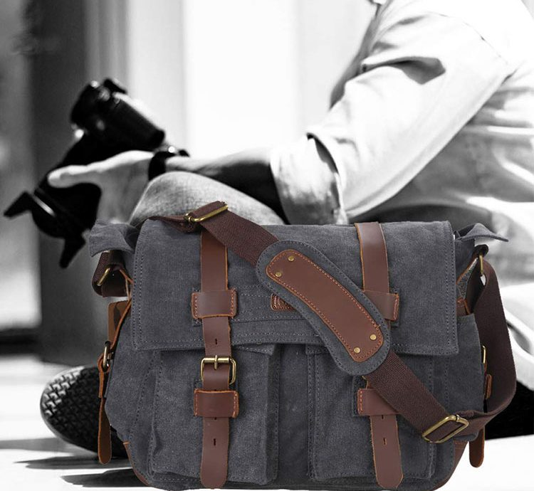 Kattee Leather Canvas Camera Bag