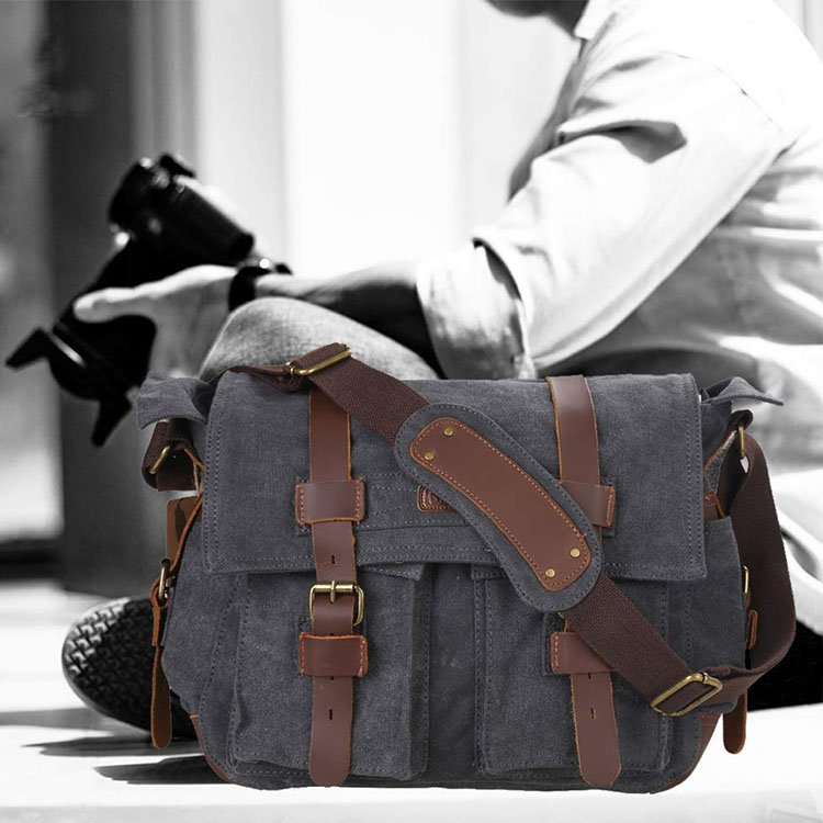 Kattee Leather Canvas Camera Bag