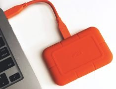 lacie rugged ssd on desk