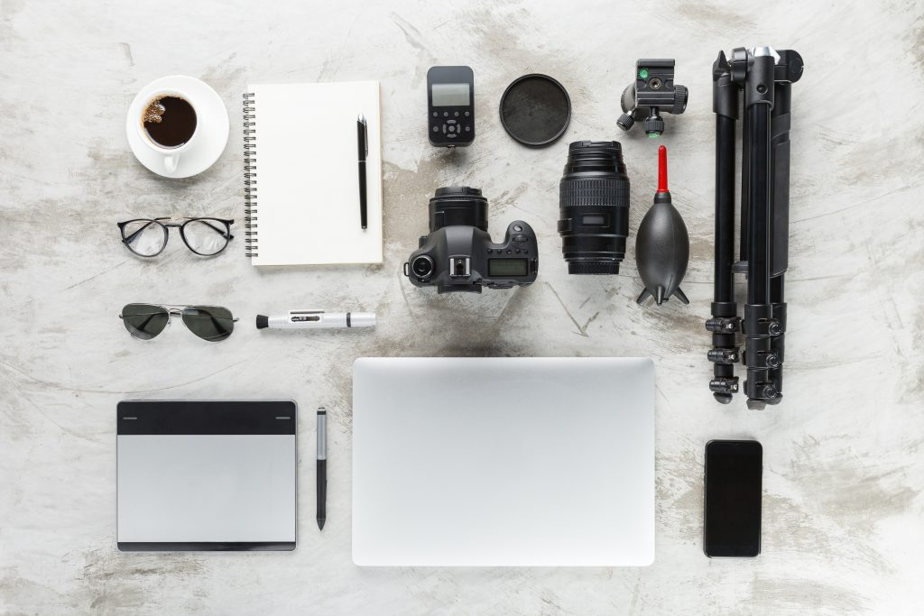 camera gear knolling photography