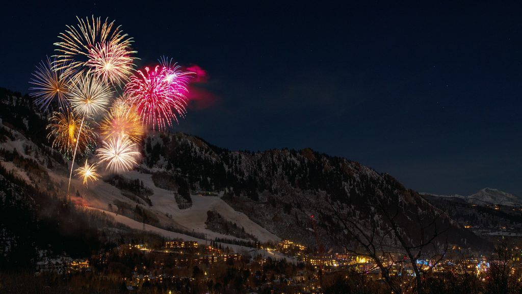 fireworks off a mountain